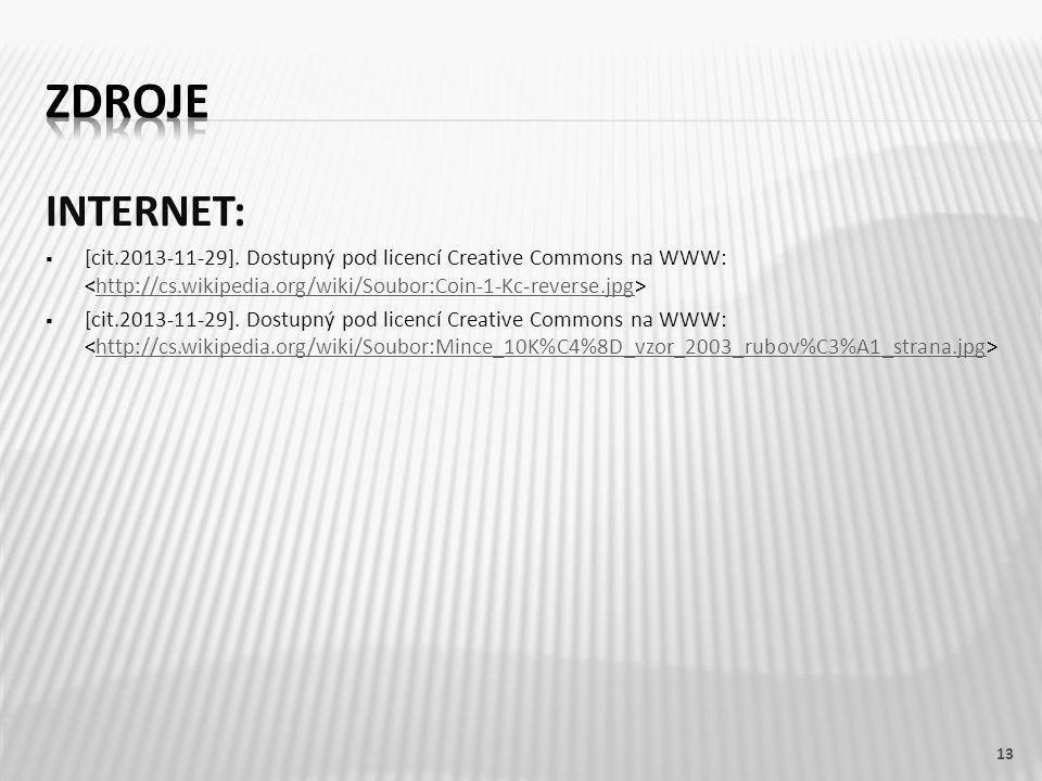 ZDROJE INTERNET: [cit.2013-11-29]. Dostupný pod licencí Creative Commons na WWW: <http://cs.wikipedia.org/wiki/Soubor:Coin-1-Kc-reverse.jpg>